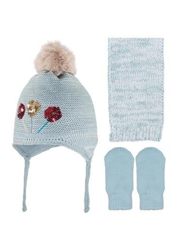 POKY Yeni Sezon Kız Bebek Pullu Lolipop Detaylı 0-18 Ay Kulaklı Ponpon Polar Bere 3'Lü Takım-2900-04 Yeşil